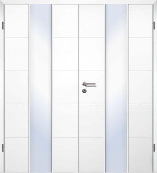Weißlack Designtür Style 1 HG Zweiflüglig mit Zarge