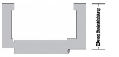Weißlack Zarge Eckige Kante 90mm