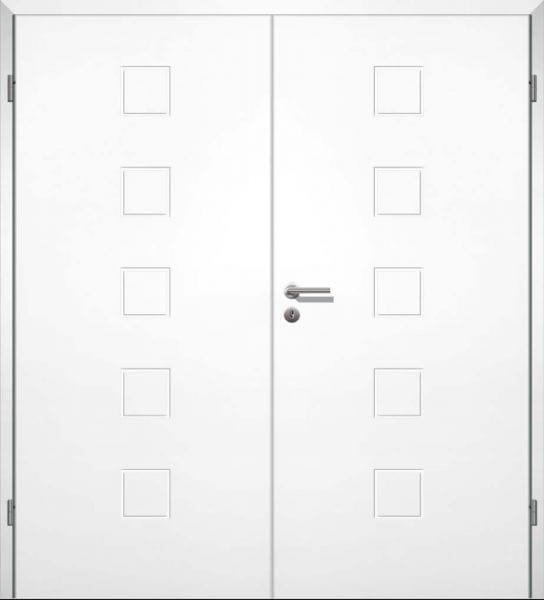 Weißlack Designtür Style 10 Zweiflüglig mit Zarge