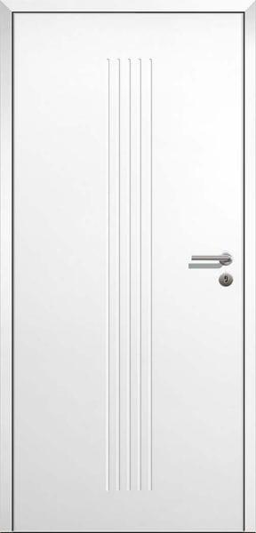 Stumpfeinschlagende Design Innentür Style 11 Weißlack mit Zarge