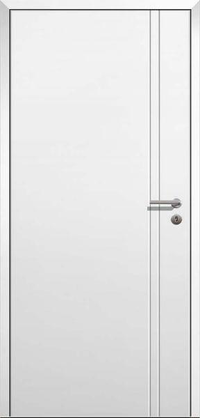 Stumpfeinschlagende Design Innentür Style 9 Weißlack mit Zarge