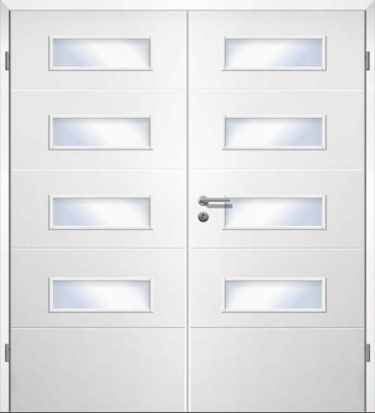 Weißlack Designtür Style 1 LA4 Zweiflüglig mit Zarge