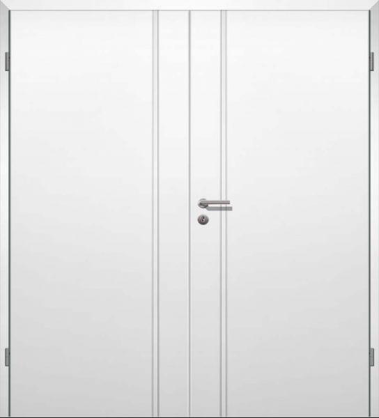 Weißlack Designtür Style 15 Zweiflüglig mit Zarge
