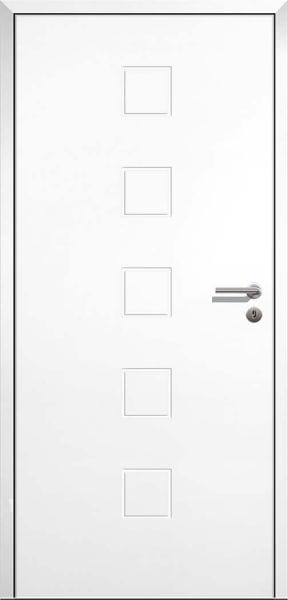 Stumpfeinschlagende Design Innentür Style 10 Weißlack mit Zarge