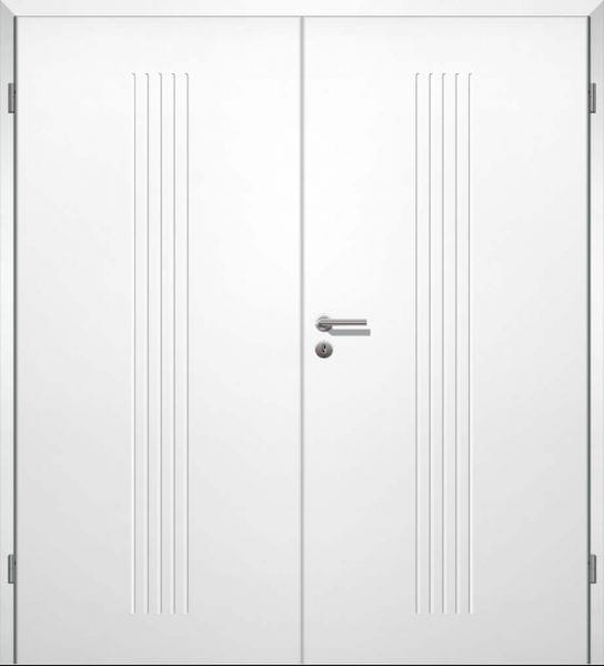 Weißlack Designtür Style 11 Zweiflüglig mit Zarge