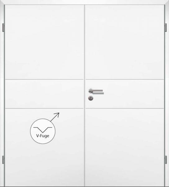 Weißlack Designtür Style 14 Zweiflüglig mit Zarge