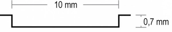 Querschnitt für Styletür 1 Weißlack LA4