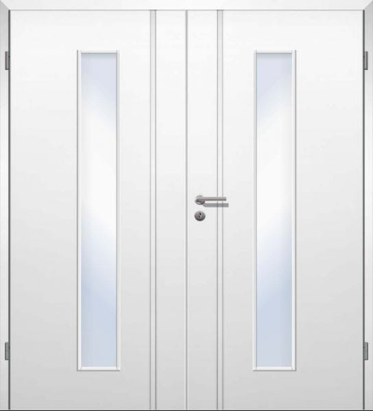 Weißlack Designtür Style 18 Zweiflüglig mit Zarge und Griff