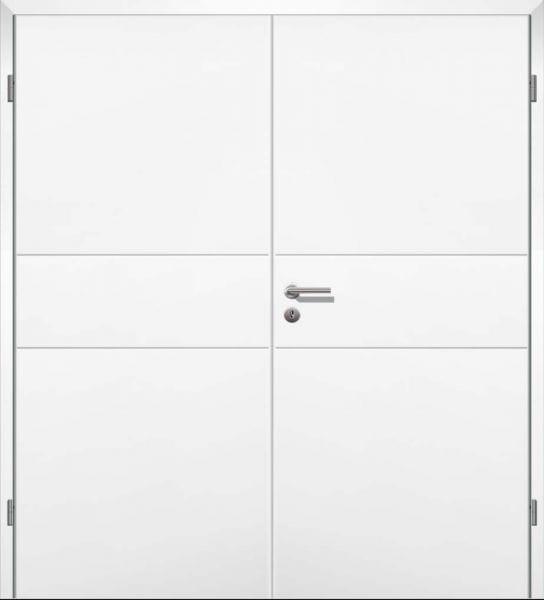 Weißlack Designtür Style 8 Zweiflüglig mit Zarge