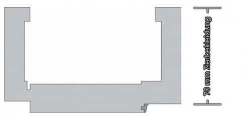 Weißlack ähnlich RAL9016 Zarge Eckige Kante 70mm