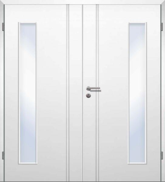 Weißlack Designtür Style 19 Zweiflüglig mit Zarge