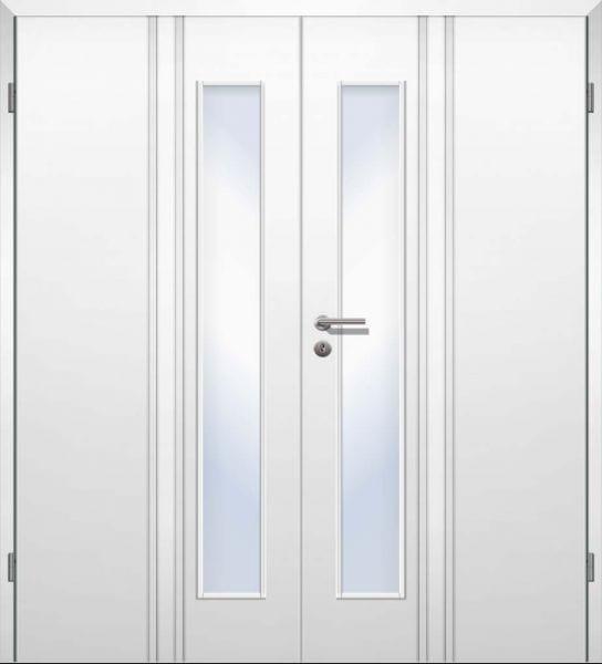 Weißlack Designtür Style 22 Zweiflüglig mit Zarge