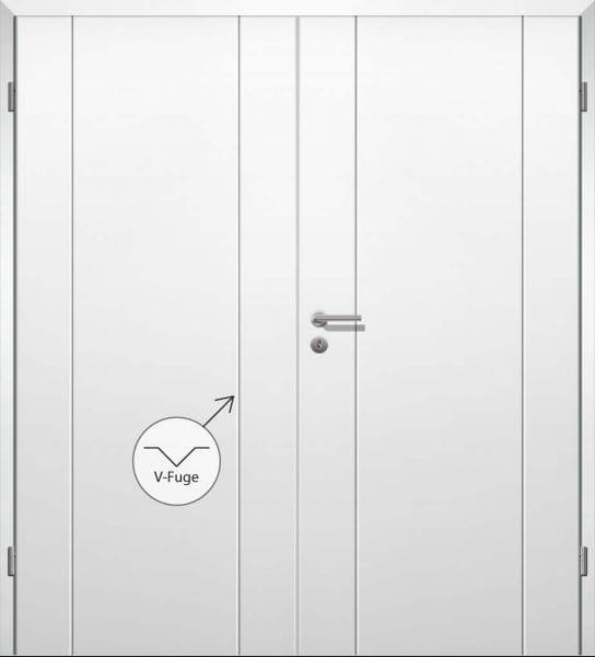 Weißlack Designtür Style 13 Zweiflüglig mit Zarge