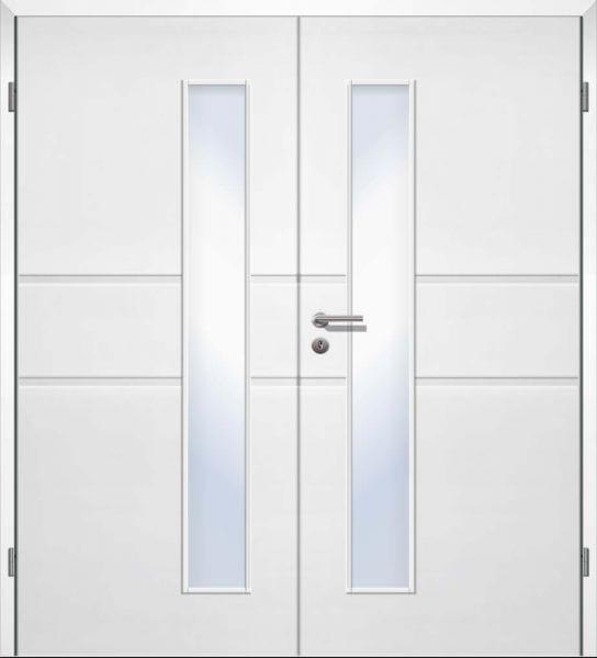 Weißlack Designtür Style 25 Zweiflüglig mit Zarge