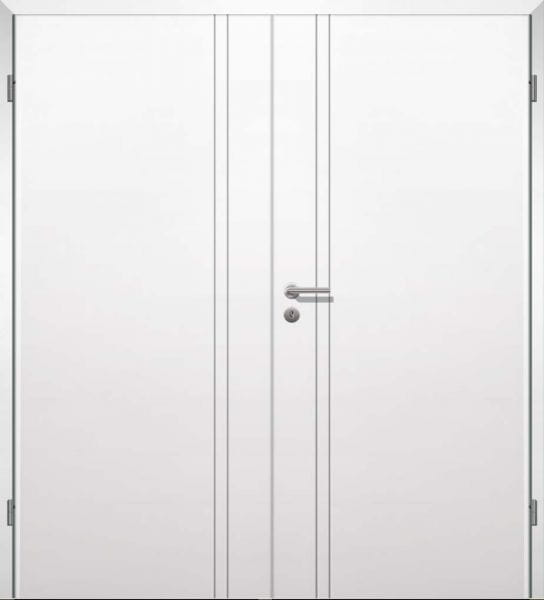 Weißlack Designtür Style 9 Zweiflüglig mit Zarge