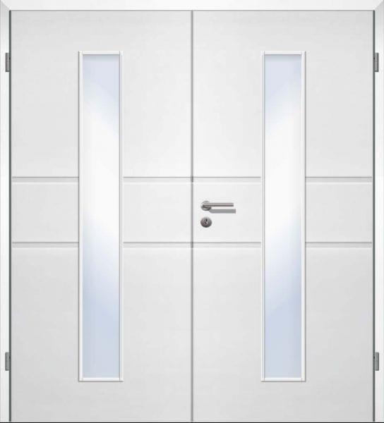 Weißlack Designtür Style 24 Zweiflüglig mit Zarge