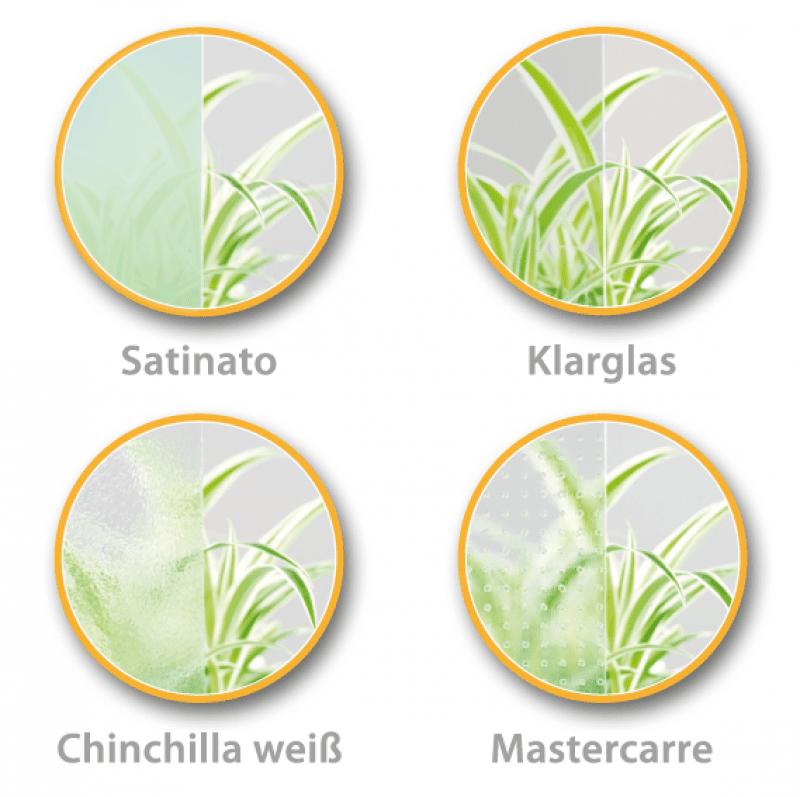 Verglasung bei Innentüren - Klarglas, Satinato, Mastercarré, Chinchilla weiß