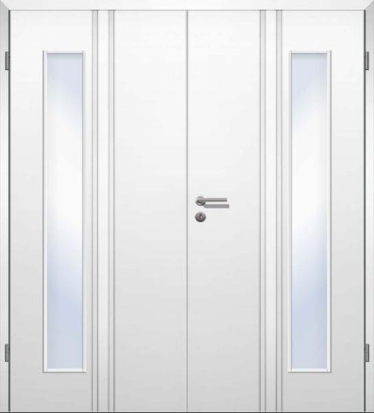 Weißlack Designtür Style 20 Zweiflüglig mit Zarge