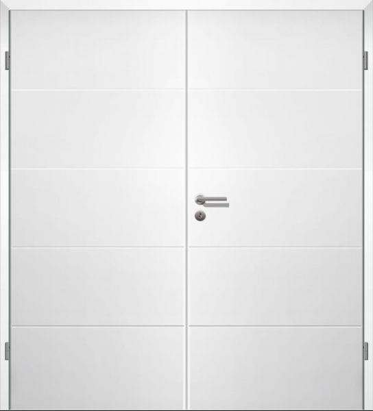 Weißlack Designtür Style 1 Zweiflüglig mit Zarge