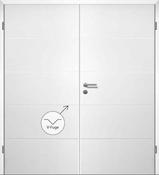 Weißlack Designtür Style 12 Zweiflüglig mit Zarge