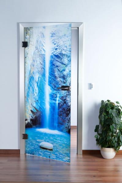 Wasserfall Ambiente Ganzglastür