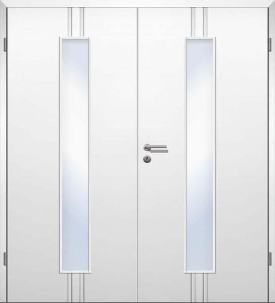 Weißlack Designtür Style 21 Zweiflüglig mit Zarge